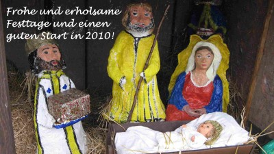 """Die Weihnachtskrippe auf unserem """"Dorfplatz"""" am Müggelsee wure auch dieses Jahr wieder von der Behindertenwerkstatt gestaltet"""