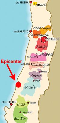 Chile: Weinregionen mit Erdbebenzentrum