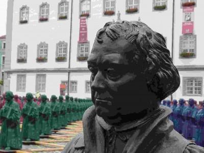 Lutherinstallation auf dem Wittenberger Marktplatz