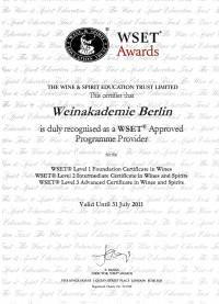 Zertifizierungs-Urkunde von WSET London für 2010/11