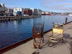 Bergen - Shopping carts at sea